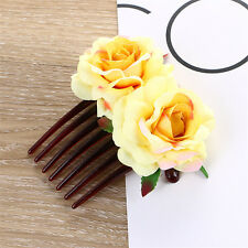 Fashion Women's Double Silk Rose Flower Hair Comb Clips Pins Wedding Bridal Pin