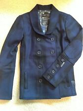 DC Pea Coat Jr S New w/oTag Casual Car,Jacket Classic Plaid Wool Double Breasted