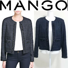 Mango Womens Jacket Tweed Frayed Detail Bouclé Size L Navy Free Shipping