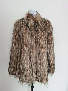 Kaleidoscope Boxy Faux Fur Jacket Coat Beige Multi Size UK 18