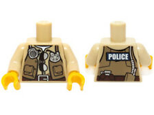 LEGO - Minifig, Torso Police / Tan Vest w/ Pockets Radio, Badge & Sunglasses
