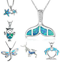 Silver Blue Fire Opal Ocean Theme Fish Tail Pendant Necklace Wedding Jewelry