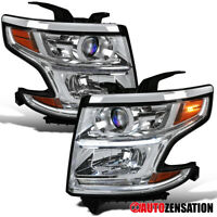 For 2015-2020 Chevy Suburban Tahoe Clear Projector Headlights Lamps+LED Strip