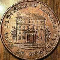 1844 LOWER CANADA BANK OF MONTREAL HALFPENNY TOKEN - Fantastic example!
