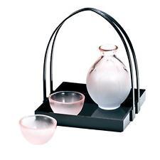 Sake Cup Tokkuri Pair Set with Basket Handmade Glass Hirota Glass MADE IN JAPAN