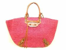Auth BALENCIAGA 236743 Pink Brown Straw &  Leather Tote Bag w/Dust Bag