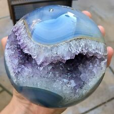 RARE 4.3lb Polished Amethyst w/ Blue Agate Deep Geode Crystal Sphere - Brazil