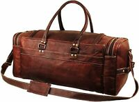 Vintage Leather Duffle Bag Men Women Carry On Travel Gym Hold all Bag 24 Inches