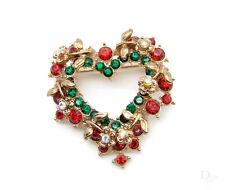 Blumen Herz Kranz Strass Kristall rot grün Weihnachten Brosche Anstecknadel
