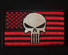 USA PUNISHER US FLAG USA ISAF SEALS BLACK OPS RED VELCRO® BRAND FASTENER PATCH