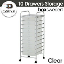 Box Sweden Portable 10 Drawers Storage/Organiser Kitchen/Office w/ Wheels Clear