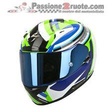 Casco Scorpion Exo 2000 Evo air Avenger bianco verde blu nero integrale moto