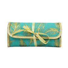 SCRIPTURE ART JEWELRY POUCH FARRAH TEAL GOLD FEATHER TRENDY MARY SQUARE TRAVEL