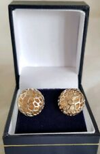 Vintage 9ct Yellow & White gold stud earrings.Of modernists design. Sheffield