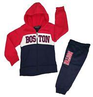 Boys Kids Boston Tracksuit Jog Set Hooded Top & Jogging Bottom 2pcs Outfits Set