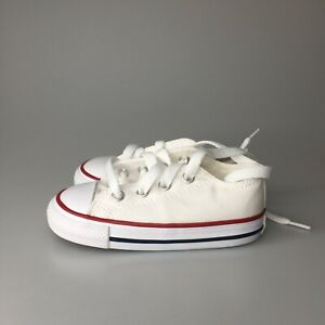 Converse All Star Low Chucks Infant Optical White Canvas Shoe 7J256 Size 6