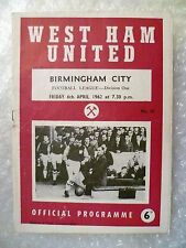 1962 WEST HAM UNITED v BIRMINGHAM CITY, 6th April (League Division One)