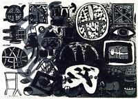 Kunst in der DDR. Beidseitige Serigraphie Frieder HEINZE (*1950 D), handsigniert
