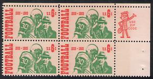 US. 1969. 6c. Intercollegiate Football 100th Anniv. Zip Block of 4. MNH. 1969