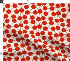 New listing Connect Dots Modern Spots Minimalist Red Mod Spoonflower Fabric by the Yard
