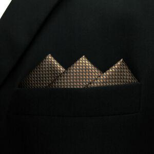 UH27 Solid Brown Mens Pocket Square Silk Hanky Silk Handkerchief Big Size