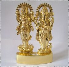 LAXMI GANESH IDOL LAKSHMI GANESHA ANTIQUE GOLD PLATED METAL IDOL ENERGIZED