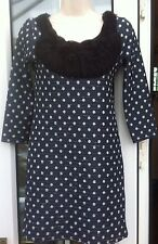 INTERNACIONALE DARK GREY & DOTTED LONG SLEEVED CRINKLED DRESS TOP - SIZE 10