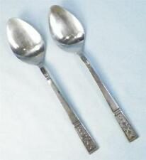 2 Vintage Stainless Teaspoons Interpur Japan Inr11 Textured Black Accents