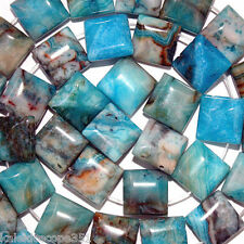 CRAZY LACE BLUE AGATE BEADS 2 HOLE DOUBLE SQUARE 10X10MM STONE BEAD STRAND SD5