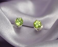 PETITE ROUND GREEN PERIDOT STUDS IN STERLING SILVER-- 3.0mm