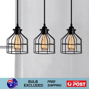 3X Vintage Loft Cage Pendant Light Industrial Cafe Restaurant Ceiling Lamp Black