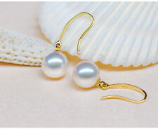6-7mm natural akoya white  AAA round pearl earrings 14k Yellow Gold