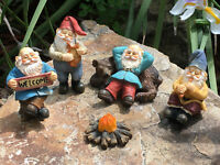 Fairy Garden Gnome Miniature Figurine-Happy Gnomes Camp-6 Piece Garden Gnome Set