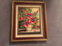 Poppies Flowers in the Basket Still Oil Painting Signed Cerbone