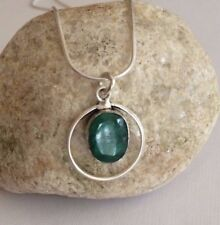 STERLING SILVER EMERALD PENDANT NECKLACE HANDMADE MAY BIRTHSTONE JEWELRY CHAKRA