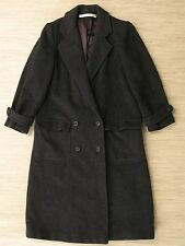 Perry Ellis Gray Wool Coat Women's Size 2 Long Trench Coat Heavy Winter