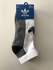 Adidas Mens 3 Pair Low Cut Cushioned Socks White/Gray/Black Shoe Size 6-12