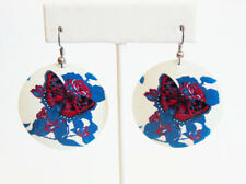 White Turquoise Magenta 1 1/2 in Lightweight Metal Butterfly Circular Earrings
