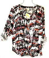 New Anthropologie Fig & Flower 2X Multi-color Print Boho Peasant Blouse Top NWT