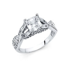Real 14k White Gold Twisted Princess Solitaire Cz Engagement Wedding Ring Band