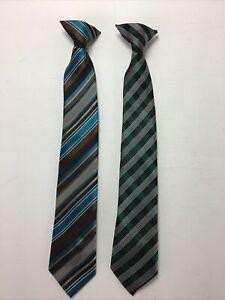 "Lot Of 2 Clip On Ties.  Boys,  15"".  Green, Black, Brown, Blue."