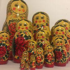 "Russian Nesting Doll 15 Pc Babushka 15"" Stacking Matryoshka Vintage USSR DAMAGED"