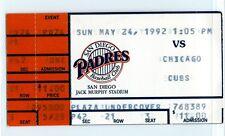 Ryne Sandberg, Fred McGriff homers ticket stub; Cubs at Padres 5/24/1992
