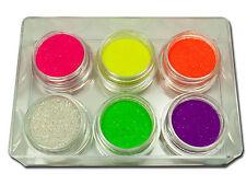Premium Glitter Puder Set Mix Holo Rainbow Neon Pink Gelb Lila Grün  #714-16
