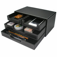 4 Small Drawer PU Leather Office Desk Organizer, Multi-functional Stationery Box
