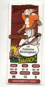 1998 Tennessee VOLS vs UAB Ticket Stub, BCS National Champs 13-0, JEFF HALL