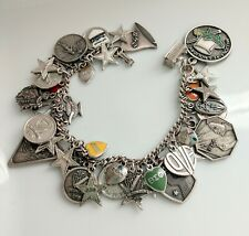 Vintage Beta-Sigma-Phi Sorority Sterling Charm Bracelet Loaded With 44 Charms!!!