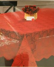 "Nantucket Fabric Red Hearts Lace Tablecloth Bridal Shower Engagement 52x70"" NEW"