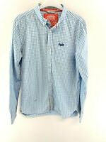 SUPERDRY Mens Shirt M Medium Blue White Check Cotton