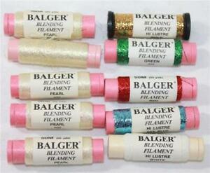 Kreinik Balger Blending Filament Lot of 10 Spools Various Colors Hi Luster Pearl